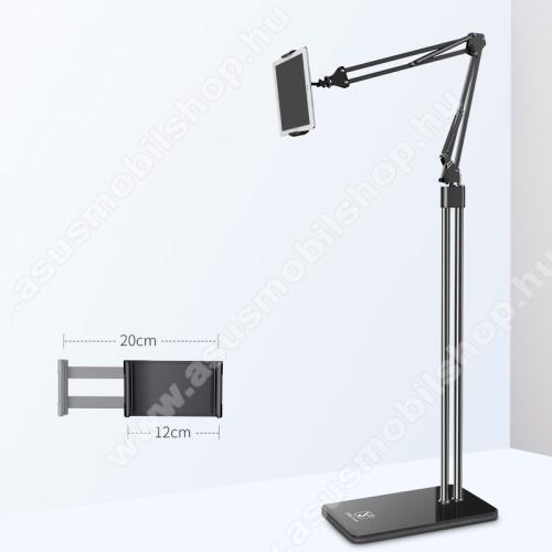 ASUS A620UNIVERZÁLIS Tablet PC tartó / állvány - FEKETE -  360 °-fokban forgatható, alumínium, tripod, 120-200mm-ig állítható bölcsővel, 1,5m teljes magasság