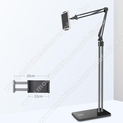 Lenovo Tab M10 Plus (TB-X606F)UNIVERZÁLIS Tablet PC tartó / állvány - FEKETE -  360 °-fokban forgatható, alumínium, tripod, 120-200mm-ig állítható bölcsővel, 1,5m teljes magasság