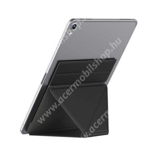 """ACER Iconia Tab A200 UNIVERZÁLIS Tablet PC tartó / asztali állvány - FEKETE - ragasztós rögzítés, 4,7 mm-es ultravékony kialakítás, háromszög alakú, összecsukható, 150x210x4.7mm - 9,7""""-nál nagyobb táblagépekhez ajánlott"""