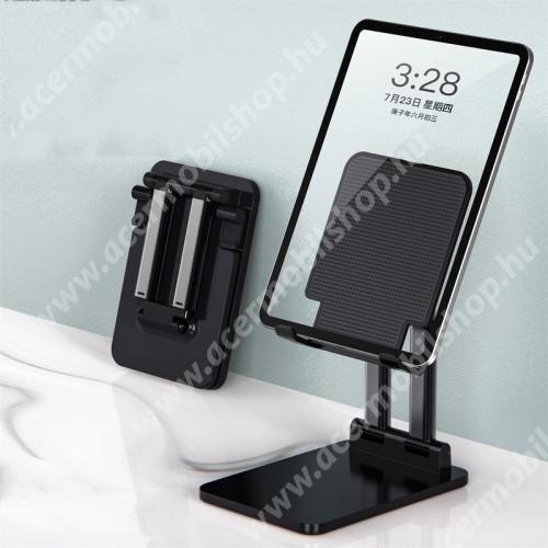 """ACER Iconia Tab A1-811 UNIVERZÁLIS Tablet PC tartó / asztali állvány - csúszásgátló, összecsukható, állítható magasság 13-20cm-ig és dőlésszög, 7-14""""-os készülékekhez ajánlott - FEKETE - 10 x 2,8 x 14 cm"""