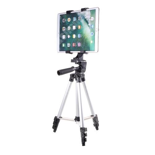 UNIVERZÁLIS Tablet PC tartó / tripod állvány - 360°-ban forgatható, alumínium, tripod, állítható magasság 34.5cm-102cm-ig, csúszásgátló, összecsukható, állítható bölcső 123-200mm-ig - FEKETE