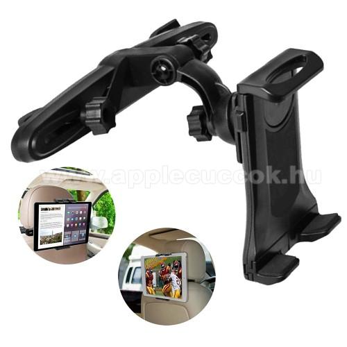 UNIVERZÁLIS tablet PC / telefon gépkocsi / autós tartó - 360°-ban elforgatható, fejtámlára szerelhető tartóval, 150-250mm-ig nyíló bölcső, 3.5-12