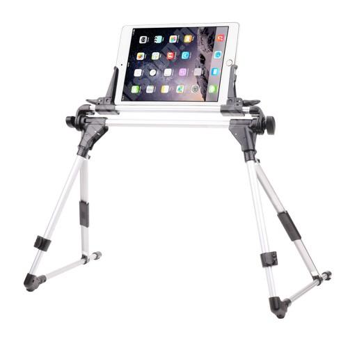 """UNIVERZÁLIS Tablet PC / telefon tartó / állvány - FEKETE / EZÜST -  360 °-fokban forgatható, alumínium, állítható magasság 27-35cm-ig, max 52cm szélesség, összecsukható 40x10cm, 4-7"""" 9-10.5""""-os készülékekkel használható"""