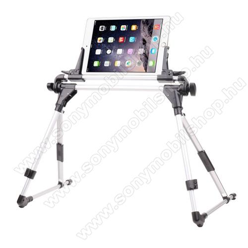 UNIVERZÁLIS Tablet PC / telefon tartó / állvány - FEKETE / EZÜST -  360 °-fokban forgatható, alumínium, állítható magasság 27-35cm-ig, max 52cm szélesség, összecsukható 40x10cm, 4-7