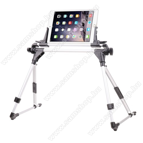 SAMSUNG SGH-i607 BlacUNIVERZÁLIS Tablet PC / telefon tartó / állvány - FEKETE / EZÜST -  360 °-fokban forgatható, alumínium, állítható magasság 27-35cm-ig, max 52cm szélesség, összecsukható 40x10cm, 4-7