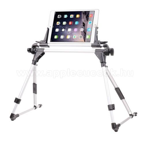 APPLE iPOD TouchUNIVERZÁLIS Tablet PC / telefon tartó / állvány - FEKETE / EZÜST -  360 °-fokban forgatható, alumínium, állítható magasság 27-35cm-ig, max 52cm szélesség, összecsukható 40x10cm, 4-7