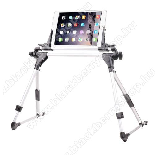 BLACKBERRY 8320 CurveUNIVERZÁLIS Tablet PC / telefon tartó / állvány - FEKETE / EZÜST -  360 °-fokban forgatható, alumínium, állítható magasság 27-35cm-ig, max 52cm szélesség, összecsukható 40x10cm, 4-7