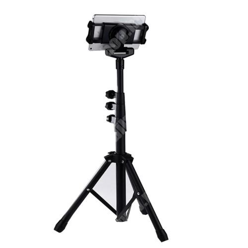 UNIVERZÁLIS Tablet PC / telefon tartó / állvány - 360°-ban forgatható, alumínium, tripod, állítható magasság 62cm-151cm-ig, összecsukható, csúszásgátló, állítható bölcső 13cm-21cm-ig - FEKETE