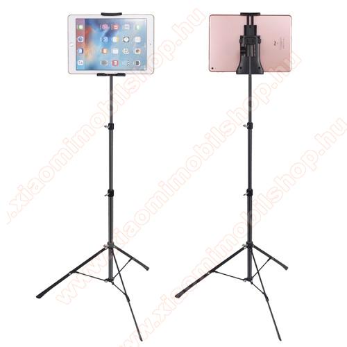 UNIVERZÁLIS Tablet / telefon tartó / állvány -  360 °-fokban forgatható, alumínium, tripod, összecsukható, állítható magasság 42-150cm,  max 12