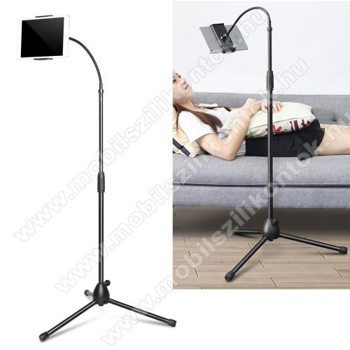 UNIVERZÁLIS tablet / telefon tartó / állvány - 120-185mm-ig nyíló bölcső, 360°-ban forgatható, flexibilis, tripod, összecsukható, csúszásgátló, 3,5-10