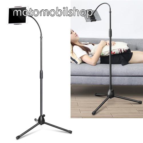 """UNIVERZÁLIS tablet / telefon tartó / állvány - 120-185mm-ig nyíló bölcső, 360°-ban forgatható, flexibilis, tripod, összecsukható, csúszásgátló, 3,5-10""""-os készülékekkel használható - FEKETE"""