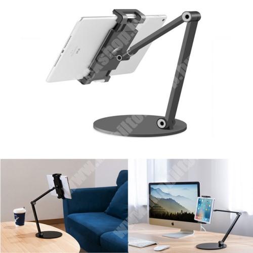 """PRESTIGIO MultiPad 8.0 PRO DUO UNIVERZÁLIS Tablet / telefon tartó / asztali állvány - alumínium, csúszásgátló, állítható magasság és dőlésszög, 360°-ban forgatható, 127-215mm-ig nyíló bölcső, 4.7-12.9""""-os készülékekez ajánlott - FEKETE"""