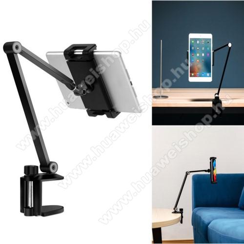 UNIVERZÁLIS Tablet / telefon tartó / asztali állvány - alumínium, csúszásgátló, asztalhoz rögzíthető bilincs 10-55mm, állítható magasság 0-433mm-ig, 360°-ban forgatható, 127-215mm-ig nyíló bölcső, 4.7-12.9