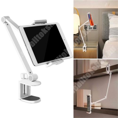 """PRESTIGIO MultiPad 8.0 PRO DUO UNIVERZÁLIS Tablet / telefon tartó / asztali állvány - alumínium, csúszásgátló, asztalhoz rögzíthető bilincs 10-55mm, állítható magasság 0-433mm-ig, 360°-ban forgatható, 127-215mm-ig nyíló bölcső, 4.7-12.9""""-os készülékekez ajánlott - FEHÉR"""
