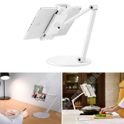 """PRESTIGIO MultiPad 8.0 PRO DUO UNIVERZÁLIS Tablet / telefon tartó / asztali állvány - alumínium, csúszásgátló, állítható magasság és dőlésszög, 360°-ban forgatható, 127-215mm-ig nyíló bölcső, 4.7-12.9""""-os készülékekez ajánlott - EZÜST"""