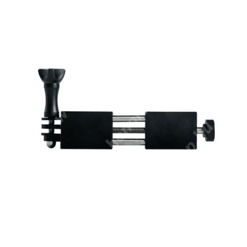 """HUAWEI Honor V40 5G UNIVERZÁLIS telefon / GoPro tartó adapter - TRIPOD állványra rögzíthető, alumínium, 65-90mm-ig nyíló bölcsővel, 360 fokban forgatható, univerzális 1/4""""-es csatlakozó, GoPro kompatibilis - FEKETE"""