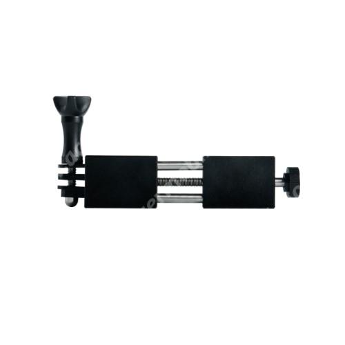 """ACER Liquid Z3 UNIVERZÁLIS telefon / GoPro tartó adapter - TRIPOD állványra rögzíthető, alumínium, 65-90mm-ig nyíló bölcsővel, 360 fokban forgatható, univerzális 1/4""""-es csatlakozó, GoPro kompatibilis - FEKETE"""