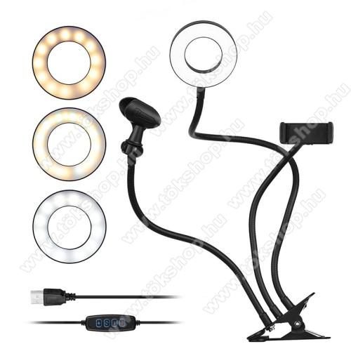 UNIVERZÁLIS telefon / mikrofon tartó állvány - asztalra csippentethető max 80mm szélesre nyílik, LED körfény, állítható színhőmérséklet, 360°-ban forgatható - 55-85 mm-ig nyíló bölcsővel, 35cm magas bölcső / mikrofon tartó, 52cm magas LED fény - FEKETE