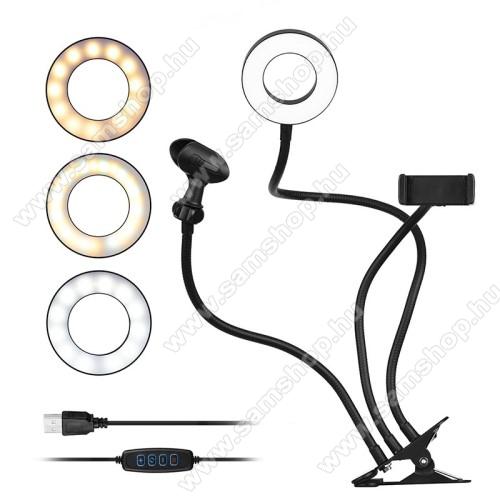 SAMSUNG SGH-i900 OmniaUNIVERZÁLIS telefon / mikrofon tartó állvány - asztalra csippentethető max 80mm szélesre nyílik, LED körfény, állítható színhőmérséklet, 360°-ban forgatható - 55-85 mm-ig nyíló bölcsővel, 35cm magas bölcső / mikrofon tartó, 52cm magas LED fény - FEKETE