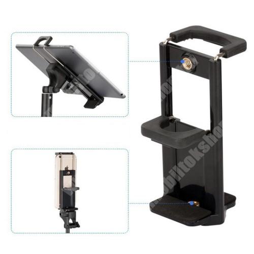 """Elephone P9 Water UNIVERZÁLIS telefon / tablet PC tartó fotózáshoz - TRIPOD állványra rögzíthető, 58-90 mm-es bölcsővel telefonokhoz, 110-185 mm-es bölcsővel tabletekhez, 360 fokban forgatható, univerzális 1/4""""-es csatlakozó - FEKETE"""