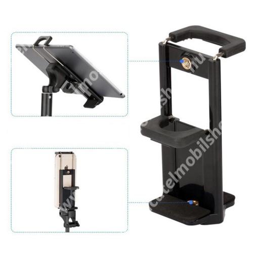 """UNIVERZÁLIS telefon / tablet PC tartó fotózáshoz - TRIPOD állványra rögzíthető, 58-90 mm-es bölcsővel telefonokhoz, 110-185 mm-es bölcsővel tabletekhez, 360 fokban forgatható, univerzális 1/4""""-es csatlakozó - FEKETE"""