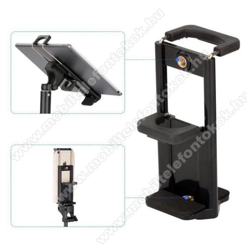 UNIVERZÁLIS telefon / tablet PC tartó fotózáshoz - TRIPOD állványra rögzíthető, 58-90 mm-es bölcsővel telefonokhoz, 110-185 mm-es bölcsővel tabletekhez, 360 fokban forgatható, univerzális 1/4