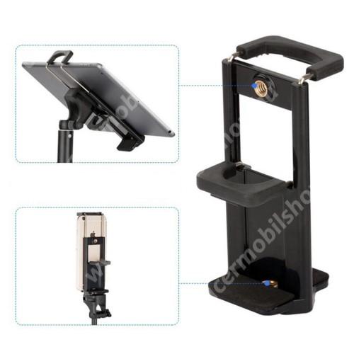 """ACER Liquid Z3 UNIVERZÁLIS telefon / tablet PC tartó fotózáshoz - TRIPOD állványra rögzíthető, 58-90 mm-es bölcsővel telefonokhoz, 110-185 mm-es bölcsővel tabletekhez, 360 fokban forgatható, univerzális 1/4""""-es csatlakozó - FEKETE"""