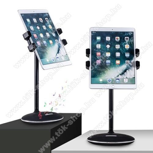 UNIVERZÁLIS telefon / tablet tartó állvány / beépített Bluetooth hangszóróval - 135mm - 225mm-ig nyíló bölcső - FEKETE - 135 x 18 x 14cm