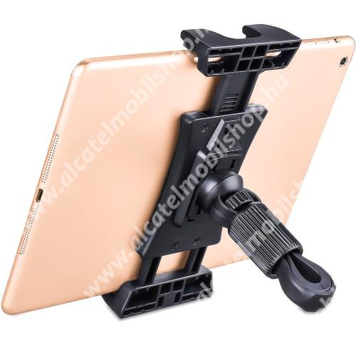 """UNIVERZÁLIS telefon / tablet tartó biciklire / kormányra rögzíthető konzol - FEKETE - 360°-ban elforgatható, univerzális 1/4""""-es csatlakozó, 12-38 mm átmérőjű csőre rögzíthető - 140 x 80mm-től 255 x 80mm-ig nyíló bölcső"""