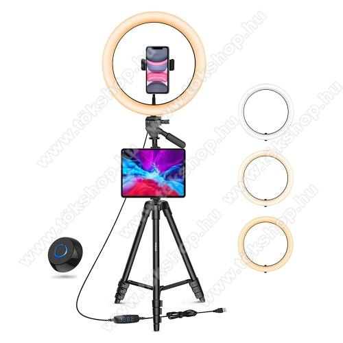 UNIVERZÁLIS telefon / tablet tartó tripod állvány - LED körfény, egyszerre 2 készülékkel használható, 3000-6000K, állítható színhőmérséklet / fényerő, 360°-ban forgatható, 2kg teherbírás, állítható állvány 41cm-135cm-ig, univerzális 1/4