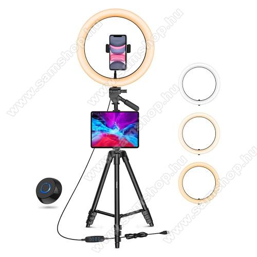 SAMSUNG SGH-i600 BlacUNIVERZÁLIS telefon / tablet tartó tripod állvány - LED körfény, egyszerre 2 készülékkel használható, 3000-6000K, állítható színhőmérséklet / fényerő, 360°-ban forgatható, 2kg teherbírás, állítható állvány 41cm-135cm-ig, univerzális 1/4