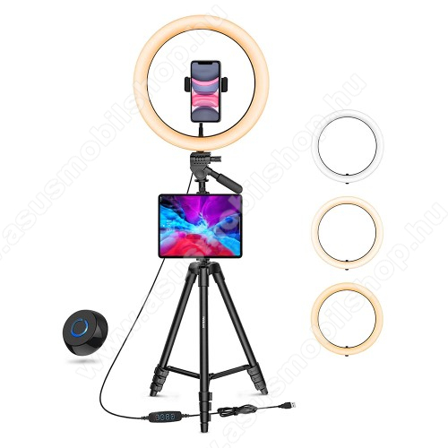 Asus A696UNIVERZÁLIS telefon / tablet tartó tripod állvány - LED körfény, egyszerre 2 készülékkel használható, 3000-6000K, állítható színhőmérséklet / fényerő, 360°-ban forgatható, 2kg teherbírás, állítható állvány 41cm-135cm-ig, univerzális 1/4