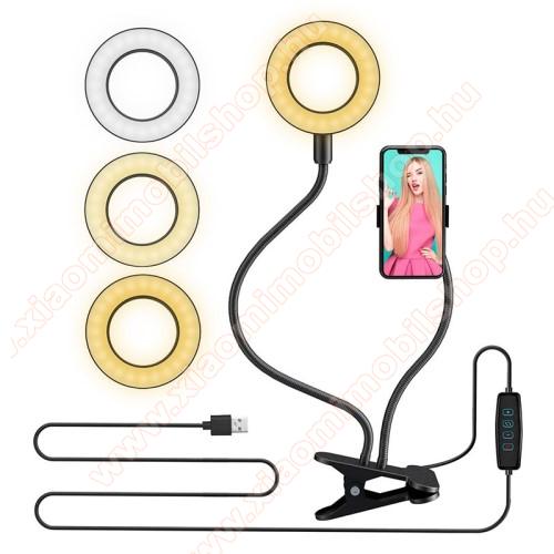 UNIVERZÁLIS telefon tartó állvány / körfény - asztalra csippentethető max 60mm szélesre nyílik, LED körfény, állítható színhőmérséklet / fényerő, 360°-ban forgatható, univerzális 1/4