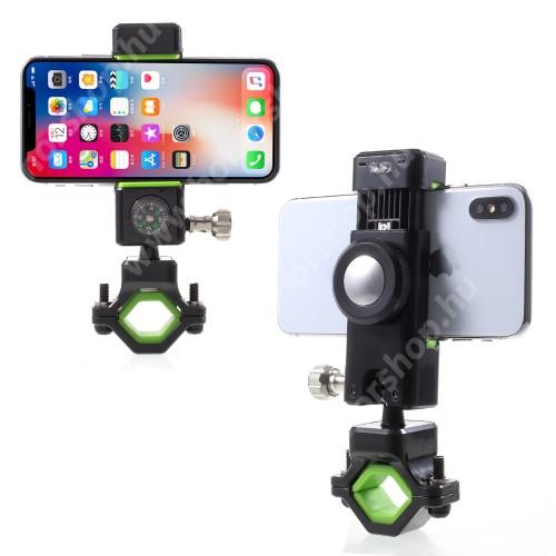 HUAWEI Honor 9 UNIVERZÁLIS telefon tartó kerékpár / bicikli - FEKETE / ZÖLD - elforgatható, iránytű, LED-es lámpával - 50-90 mm-ig nyíló bölcsővel