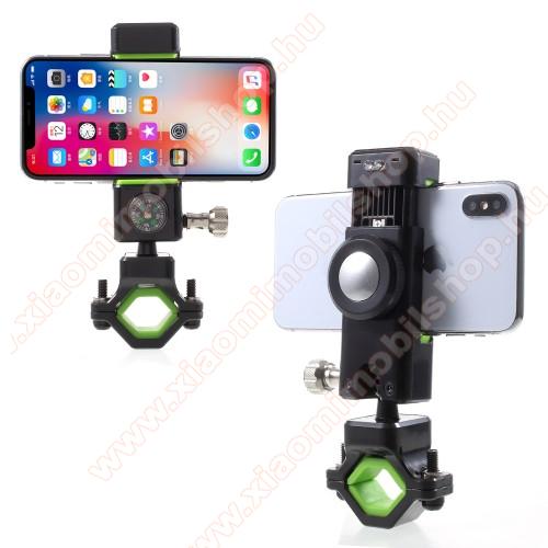 UNIVERZÁLIS telefon tartó kerékpár / bicikli - FEKETE / ZÖLD - elforgatható, iránytű, LED-es lámpával - 50-90 mm-ig nyíló bölcsővel