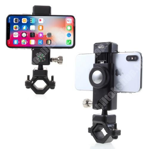 Elephone P9 Water UNIVERZÁLIS telefon tartó kerékpár / bicikli - FEKETE - elforgatható, iránytű, LED-es lámpával - 50-90 mm-ig nyíló bölcsővel