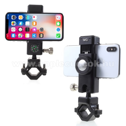 APPLE iPhone 2GUNIVERZÁLIS telefon tartó kerékpár / bicikli - FEKETE - elforgatható, iránytű, LED-es lámpával - 50-90 mm-ig nyíló bölcsővel