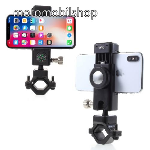 MOTOROLA MPX100 UNIVERZÁLIS telefon tartó kerékpár / bicikli - FEKETE - elforgatható, iránytű, LED-es lámpával - 50-90 mm-ig nyíló bölcsővel