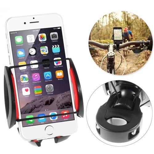 UNIVERZÁLIS telefon tartó kerékpár / bicikli - 360°-ban forgatható - 50-90 mm-ig nyíló bölcsővel - FEKETE / PIROS