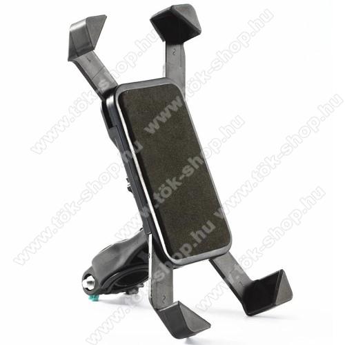 UNIVERZÁLIS telefon tartó kerékpár / biciklire rögzíthető - FEKETE - 360°-ban elforgatható, kormányra rögzíthető, minimum 123mm x 63mm, maximum 180mm x 90mm-ig állítható bölcsővel
