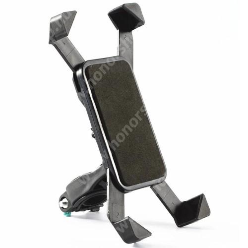 HUAWEI Honor V40 5G UNIVERZÁLIS telefon tartó kerékpár / biciklire rögzíthető - FEKETE - 360°-ban elforgatható, kormányra rögzíthető, minimum 123mm x 63mm, maximum 180mm x 90mm-ig állítható bölcsővel