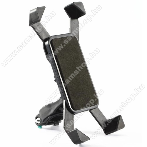 SAMSUNG GT-S5050UNIVERZÁLIS telefon tartó kerékpár / biciklire rögzíthető - FEKETE - 360°-ban elforgatható, kormányra rögzíthető, minimum 123mm x 63mm, maximum 180mm x 90mm-ig állítható bölcsővel