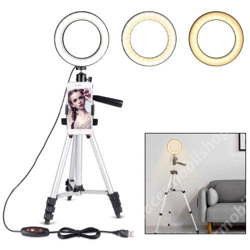 ACER Liquid X1 UNIVERZÁLIS telefon tartó tripod állvány - LED körfény, állítható színhőmérséklet, 360°-ban forgatható, állítható állvány 35cm-ről 100cm-re - 89 mm-ig nyíló bölcsővel - EZÜST