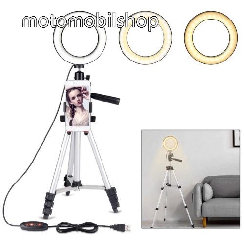 UNIVERZÁLIS telefon tartó tripod állvány - LED körfény, állítható színhőmérséklet, 360°-ban forgatható, állítható állvány 35cm-ről 100cm-re - 89 mm-ig nyíló bölcsővel - EZÜST