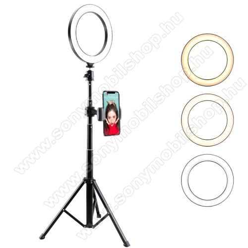 UNIVERZÁLIS telefon tartó tripod állvány - LED körfény, állítható színhőmérséklet, 5W, 134cm magas, 360°-ban forgatható, 1/4