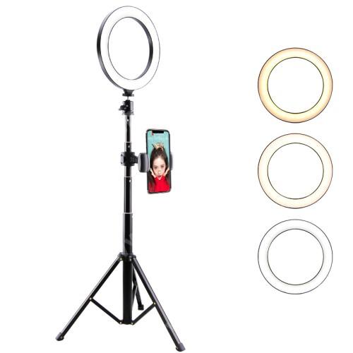 """UNIVERZÁLIS telefon tartó tripod állvány - LED körfény, állítható színhőmérséklet, 5W, 134cm magas, 360°-ban forgatható, 1/4"""" univerzális csavar, összecsukható - FEKETE"""