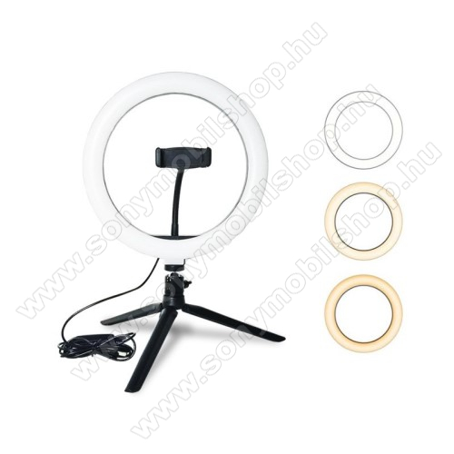 UNIVERZÁLIS telefon tartó tripod állvány - LED körfény, állítható színhőmérséklet 3200-5800K, 360°-ban forgatható, Lumen: 1350lm, állítható állvány 29cm magas - FEKETE