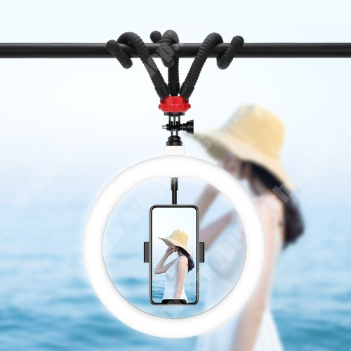 """UNIVERZÁLIS telefon tartó tripod állvány - LED körfény, BLUETOOTH KIOLDÓVAL, állítható színhőmérséklet 3000-6000K, 360°-ban forgatható, 2400lm, 24W, állítható állvány 23cm magas, rugalmas lábak, univerzális 1/4 """"-es csavar - FEKETE"""