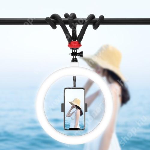 """HUAWEI Honor V40 5G UNIVERZÁLIS telefon tartó tripod állvány - LED körfény, BLUETOOTH KIOLDÓVAL, állítható színhőmérséklet 3000-6000K, 360°-ban forgatható, 2400lm, 24W, állítható állvány 23cm magas, rugalmas lábak, univerzális 1/4 """"-es csavar - FEKETE"""