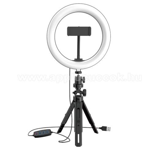 APPLE iPad Pro 12.9 (2017)UNIVERZÁLIS telefon tartó tripod állvány / körfény - 20cm LED körfény, állítható színhőmérséklet / fényerő, 3200-5800K, 360°-ban forgatható, állítható tripod állvány 16-21cm-ig, 1/4